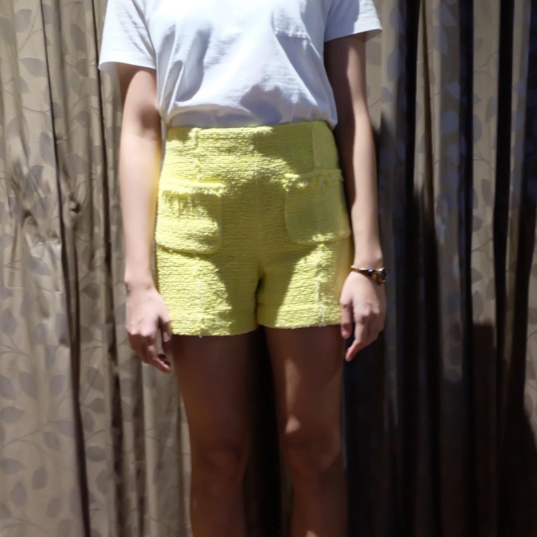 ZARA - Yellow Tweed Short
