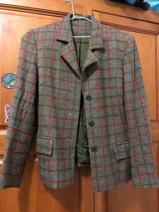 🚚 Vintage 古著格紋西裝外套