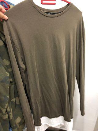 Sweatshirt army green oversized long