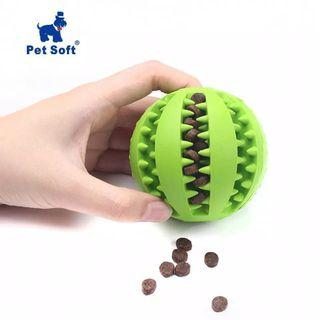 Interactive ball chew toy for dogs cleans teeth, made from extra tough rubber