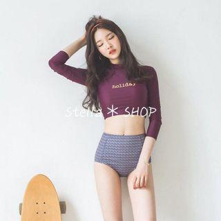 Stella✿SHOP S226酒紅×hoilday字母短版高腰兩件式長袖泳裝溫泉泳衣胸墊鋼圈水母衣 - 預購