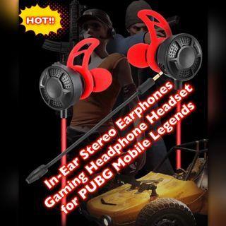 In-ear Stereo Earphones Gaming Headphones PC Headset for PUBG Mobile Legend