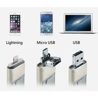 128G 3合1 備份手指(1年內有壞包換) / 128G 3 in 1 Flash Drive for iPhone/Android/PC (1 Year Warranty)