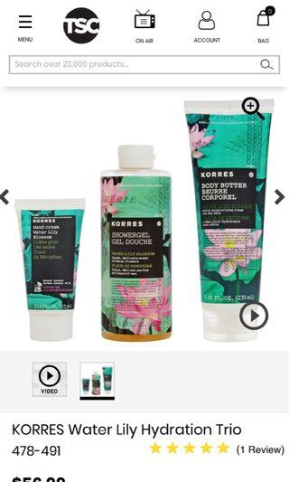 Brand New Korres - Water Lily Bath & Body Cafe Set