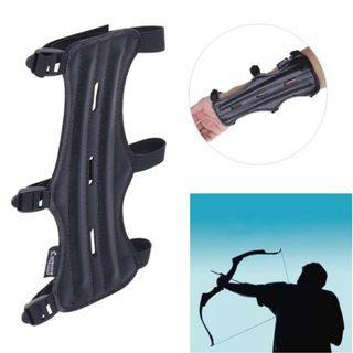 Cow Leather 3 Strap Arm Guard Protection for Outdoor Archery Shooting (Black)