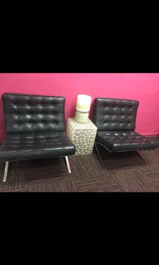 Designer Barcelona leather chairs