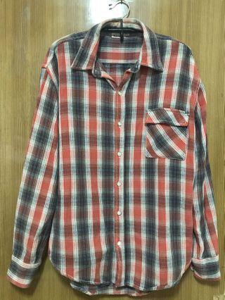 🚚 橘色格紋襯衫