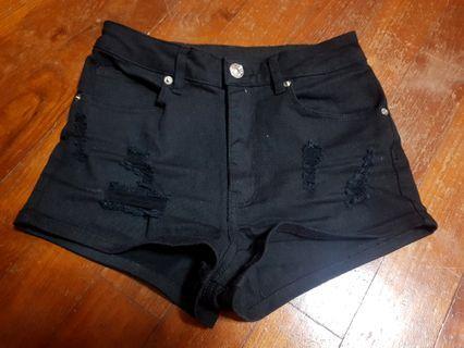 H&M Black Ripped HW Shorts