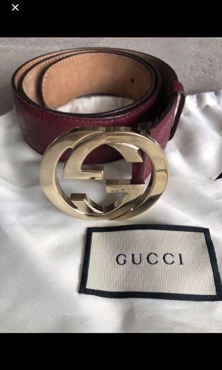 二手專櫃購入Gucci酒紅寬版皮帶