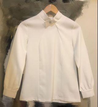 質感挺版厚雪紡白上衣