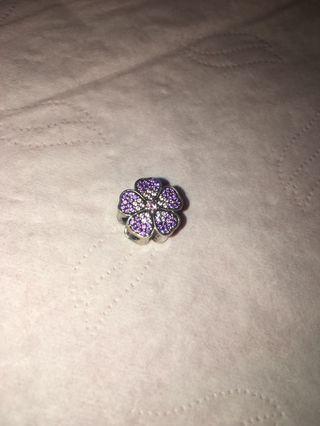 Pandora 紫色花閃石charms