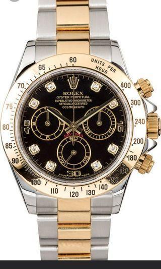 🚚 Preloved Rolex Daytona black diamond dial 116523