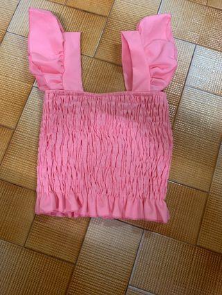 Pink Ruffles sleeve Top