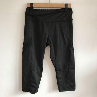 Black mesh capris cropped athletic leggings