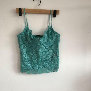 Blue lingerie lace top
