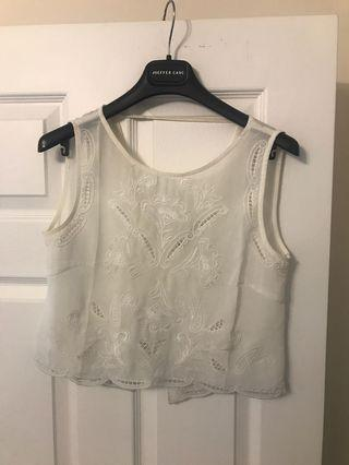 White Tank Top with Lace Detail from Brandy Melville