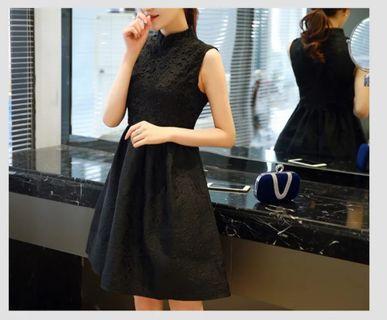 BNWT Mandarin Collar Black Lace Dress