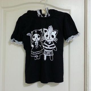 地獄貓貓耳帽棉質短袖連帽T恤 S~M號 吉兒龐克