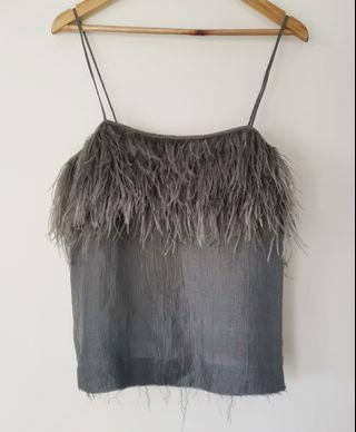 Aje Plume Feather Cami Top in Silver Grey - Size 12 BNWT RRP $275