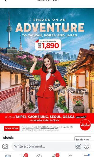 Taiwan, Korea or Japan round trip! Use my AirAsia credit while the seat sale lasts!