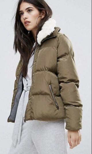 Khaki padded Faux Shearling Collar Bomber Jacket coat