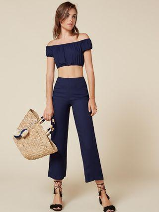 Reformation Annabelle Two Piece Top Pants Set in Navy - Size US 4/AU 8 RRP $200