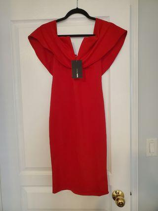 Fashion nova red dress size M with tags