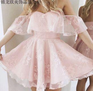 🚚 粉色荷葉邊短袖露肩洋裝連身裙