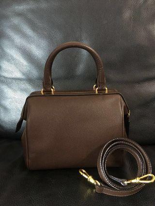 Vintage Celine 3way Boston handbag crossbody darkbrown