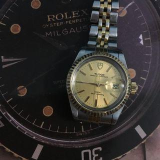 刁陀 TUDOR 勞力士的及底蓋 自動全正常  女裝ROLEX 92413 古董錶 精工