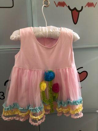 Mididress pom pom dress baby girl 6-12m