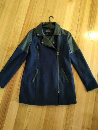 Justaddsugar Navy blue and black long motobiker biker faux leather & wool jacket 10