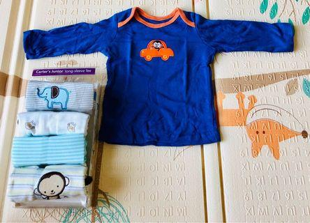 🚚 Carter Baby Boy Long Sleeve Tee/ Shirt - New - 3 -6 months
