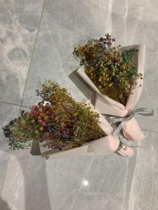 Dried Rainbow Baby Breath Flower Bouquet