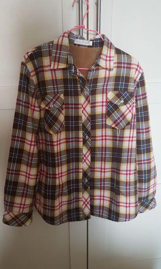 Checkered shirt with flannel inner lining