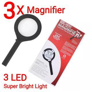 👍👍250 Lumens 3X Magnifier 3 COB(Chip On Board) LED Super Bright Light Handheld Magnifying Glass Durable Rubberized Handle for Jewellery Watch Computer Repair Reading etc. Usual Price  :$39.90 Now : $14.90 + Free Mail Postage(Brand new in box)