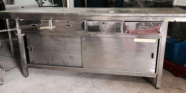 Stainless steel multipurpose kitchen cabinet table