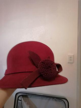Flannel  Hat red colour