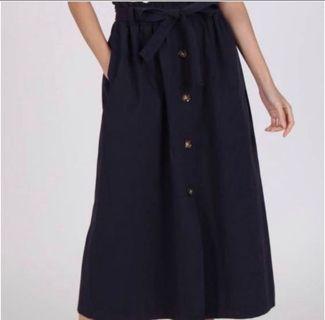 Linen Paperbag Midi Skirt