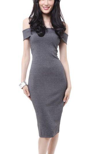 🚚 MDS GREY Off Shoulder Bodycon Dress