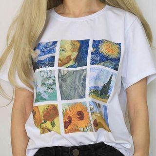 van gogh aesthetic white shirt