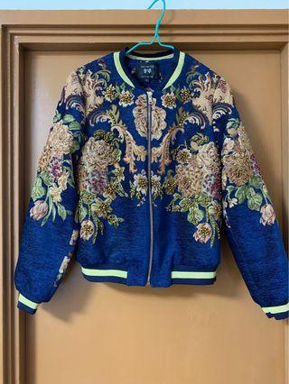 Bomber Jacket floral print sequins