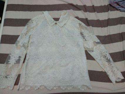 Atasan baju brukat putih