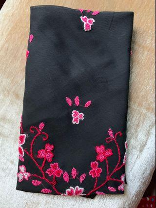 Scarf black chiffon embroidered