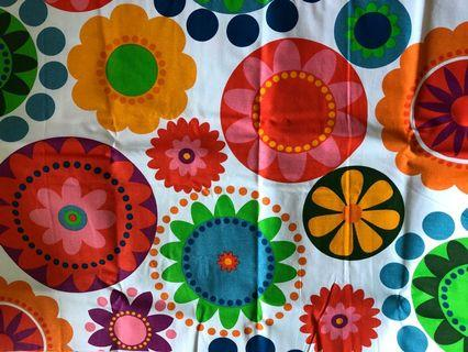 Colorful flowers canvas material