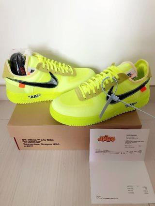 US7.5 Off White x Nike Air Force 1 Low Volt (the 10 zoom fly air max 97 air jordan vapormax presto react element)