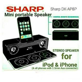 👍👍Best Buy for SHARP Portable Speaker with 2:1 channel HDSS & Sub-woofer + Stylish PANEL Remote with built-in phone/ipod Dock (Also compatible with any phone With 3.5mm aux. Model:DK-AP8P. Usual Price $189 Sale Price: $49.90. (Brand new)
