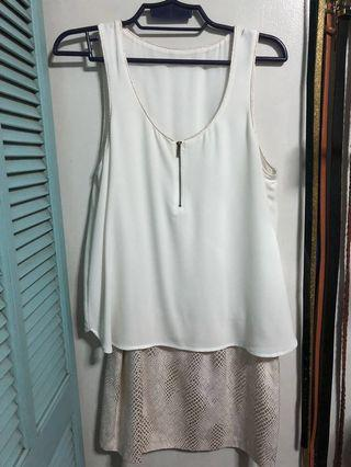 Promod: Dress (White with Print)