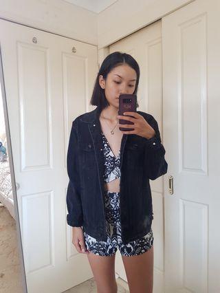 Black Oversized Denim Jacket Size 8/S