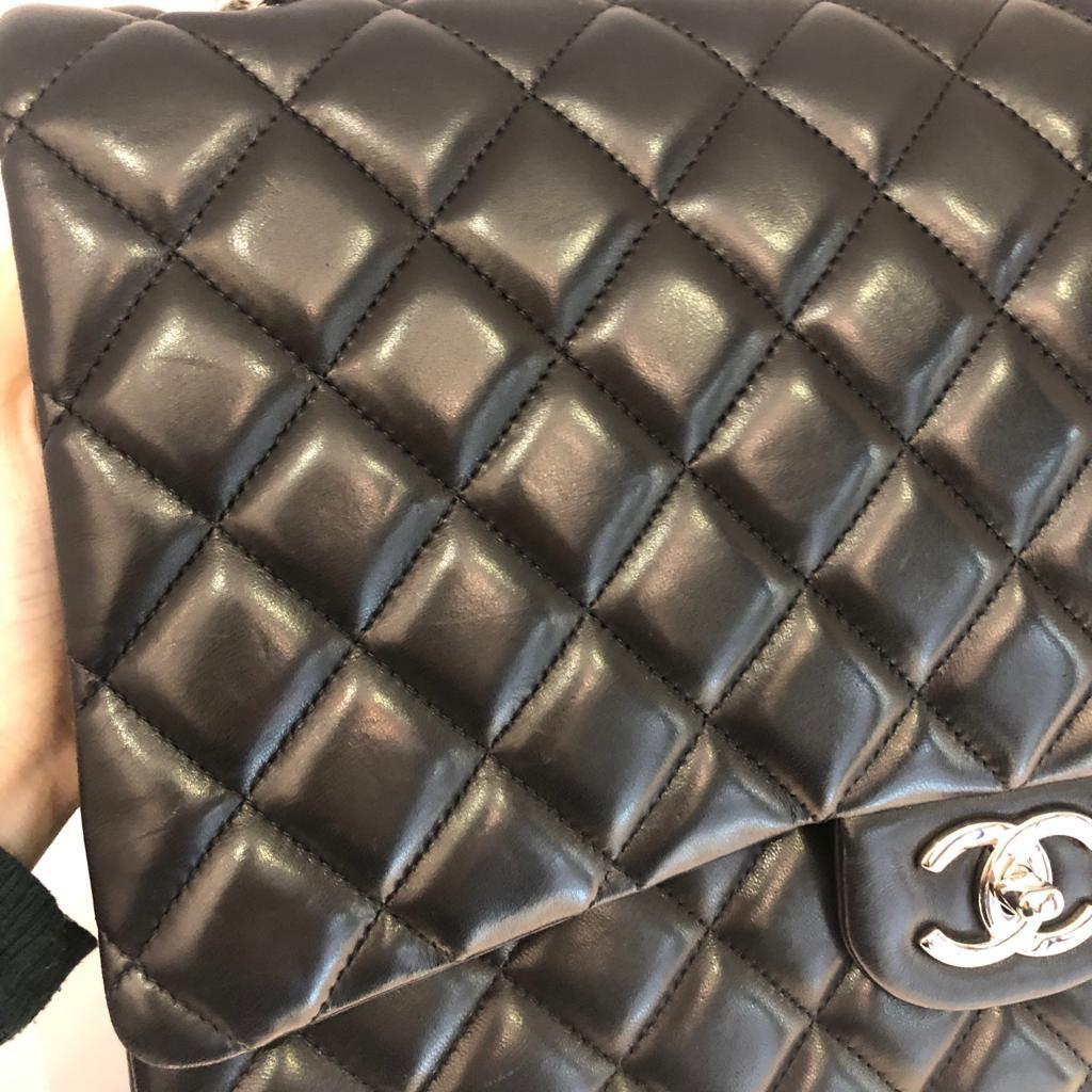100% Authentic Preloved Chanel Maxi Flap in Black Lambskin
